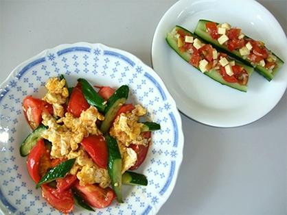 きゅうりとトマトの卵炒め(4人分)